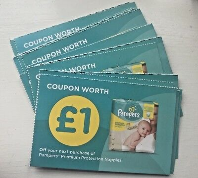 16 x Pampers £1.00 Vouchers Money Off Coupons Valid until 30 Sept 18