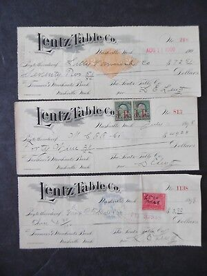 Lot 3 Lentz Table Co Nashville Michigan Bank Checks 1898-1900 w/ Revenue Stamps