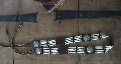 VTG Brown Leather WESTERN BOHO NATIVE AMERICAN BELT concho Bone Beads tie VGC