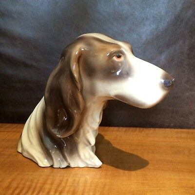 Vintage 1940s GOLDSHEIDER EVERLAST English Springer Spaniel Dog Bust~TRENTON USA
