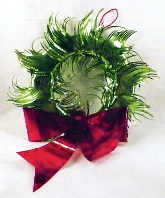 Vintage Foil Christmas Wreath Green Red Ribbon Decoration Mid Century