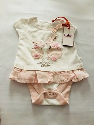 Ted Baker Girls Bunny Top With Built In Vest - Age 0-3  Months