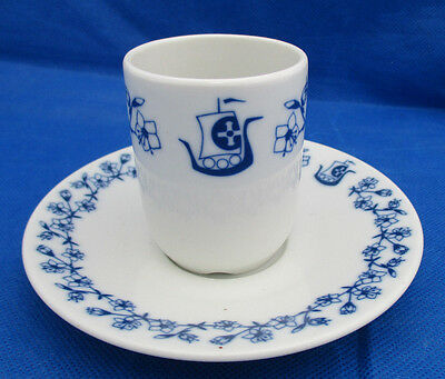 Demitasse Cup & Saucer Porsgrund Norway Blue Flowers Viking Ship Unique EUC