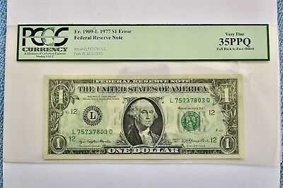 1977 $1 Bill Federal Note ERROR FULL Back to Front Offset PCGS Very Fine 35PPQ