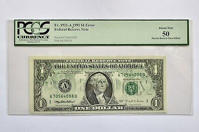1995 $1 Bill Federal Note Back to Front Offset PCGS ERROR About New 50