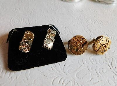 Two Pairs Vintage Watch Movement Cufflinks - Gold Tone - Nice!