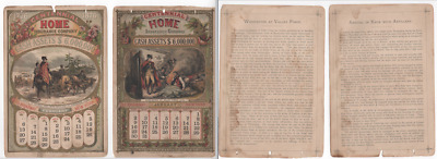 1876 Centennial Home Insurance Co. Calendar   Estate Find, No Reserve