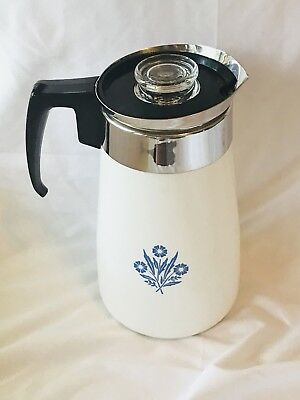 Corning Ware COFFEE POT 9 cup Stove Top BLUE CORNFLOWER