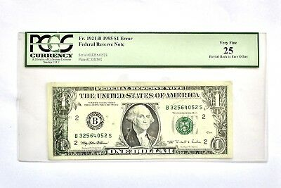 1995 $1 Bill Federal Note Partial Back to Front Offset PCGS ERROR from the Mint