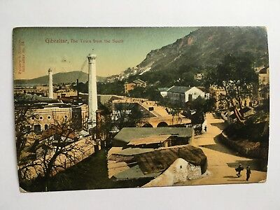 Gibraltar - the town from the south. Posted 1911 in Liverpool