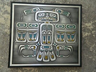 Thunder Bird Etched Picture Canadian Native Art Orchard Studio Plaque hand made