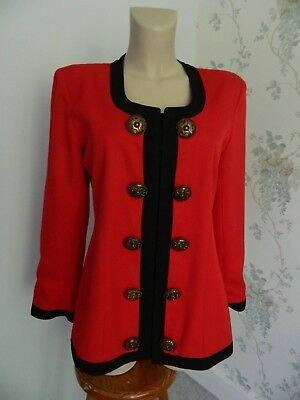ORIGINAL VINTAGE  80s JACKET BIG  BUTTONS Power dressing red black  14 cruise