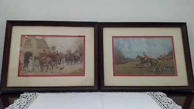 Beautiful Pair of Vintage Hunting Prints, 11-1/2 Inches Wide By 15 Inches Tall