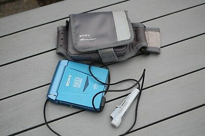 Sony MZ-E33 MiniDisc Player Blue with remote and Atrac case