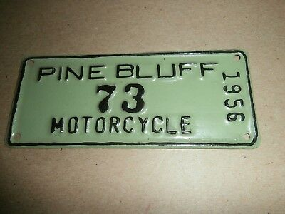 1956  Vintage Motorcycle  Metal License Plate Pine Bluff 73 Arkansas