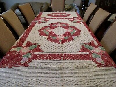 Vintage Chenille bedspread - White With Flowers 104 x 88 - nice - colorful