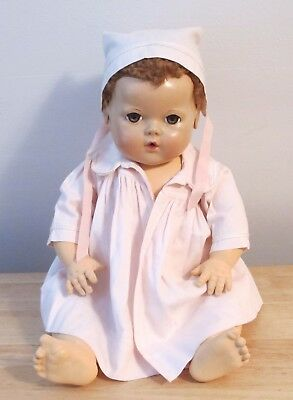 "Vintage Effanbee Dydee Pink Coat And Bonnet For 20"" Doll"
