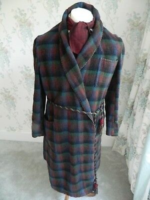 Gentlemens  Vintage Wool Plaid Braided Dressing Gown Smoking Robe small 60's