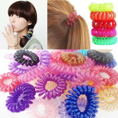 12 Hair Bobbles Elastic Waterproof Spiral Scrunchies Bands Stretch Plastic Coil