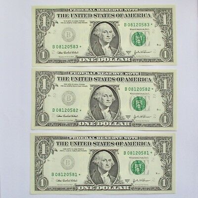 New 2003 $1 Dollar Bill Federal Note Insufficient Ink Consecutive Serial ERROR