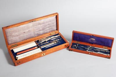 "2 x Vintage ~ Drawing Instrument Sets ~ ""G. Rowney & Co."" & ""W. H. Harling"""