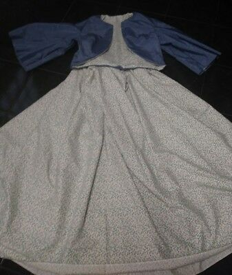 Civil war Old West Dickens Victorian dress Zouave in Blue Morie  3pc set