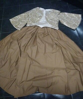 Civil war Old West Dickens Victorian dress Zouave in Brown Paisley  3pc set