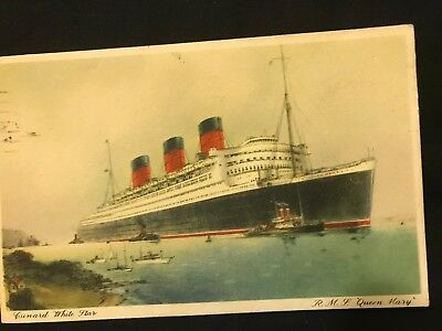 Vintage Postcard Cunard White Star  R.M.S. QUEEN MARY posted July 1936