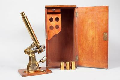 "Vintage c1890 ~  ""Baker of London"" Brass Microscope, Case & Accessories"
