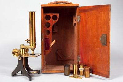 Vintage c1890 ~ Brass Microscope with Case and Accessories
