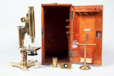 "Vintage c1890 ~ ""R & J Beck"" Brass Microscope with Case and Accessories"