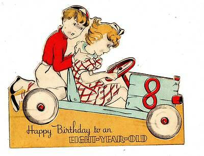 Vintage Birthday Card Happy Birthday To An Eight-Year Old, Lm-2