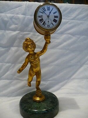 Antique French Miniature Cherub Mantel Clock With Pocket Watch Movement 4 Repair