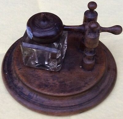 Treen Wooden Ware Antique Inkwell Ink Well Pot Desk Stand