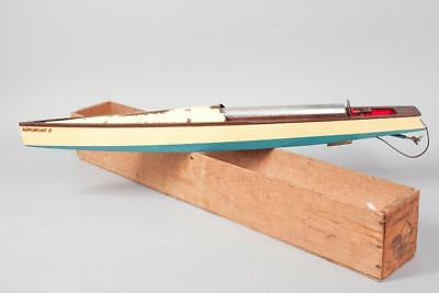 "Vintage c1930~ ""Bowman"" ""Aeroboat II""  Rubber Band Powered Speedboat"