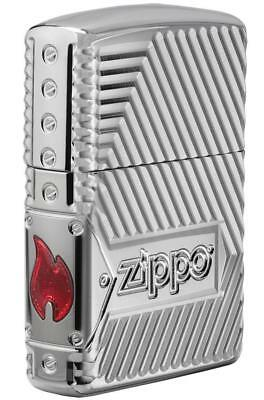 Zippo Windproof Armor Lighter With Design & Logo, Bolts Design, 29672 New In Box