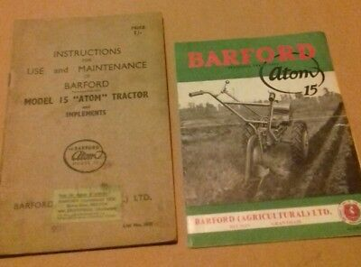 Barford Atom 15 instrument book and promotional catalogue. Garden tractor