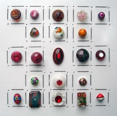 21 Antique & Vintage Glass Charmstring Buttons