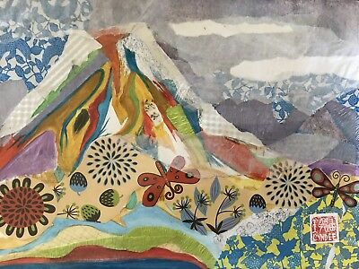 Original Art Collage, Mixed Media Origami Papers, Mt Fiji, Japan Art by Lyndee