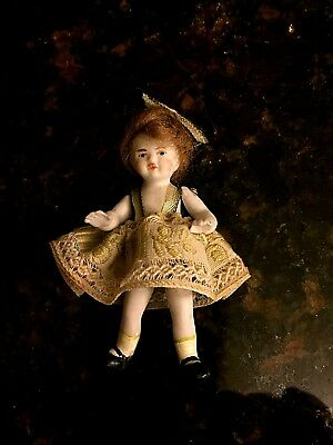 Tiny All Bisque Wire Jointed Antique Doll