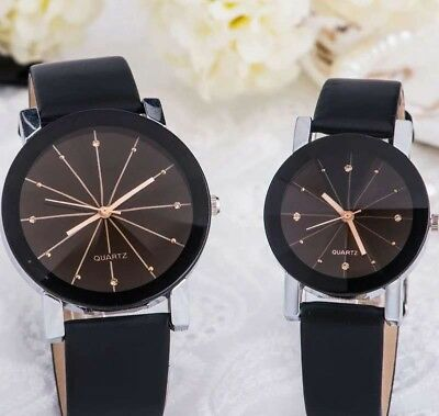 NEW Women Girl Analog Quartz Ladies Wrist Watches Fashion Leather Strap Black