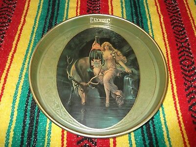 Clysmic King of Table Waters Vintage Serving Tray Nude Woman Antique Metal Art