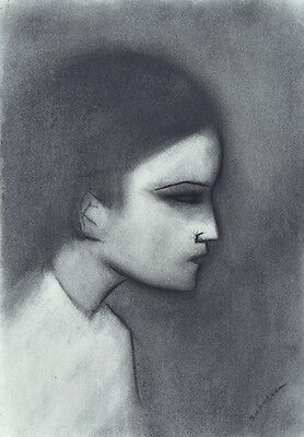 "ROBERT DICKERSON ""Young Boy"" Original Charcoal, Signed, 54cm x 37cm, Framed"