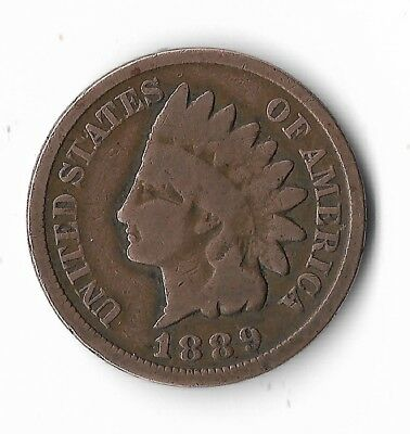 Rare Very Old Antique Collectible US 1889 Indian Head Penny USA Coin Collection