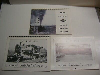 Lot Of 3 READING RAILROAD CALENDARS 1985, 1986 & 1988 Excellent Condition