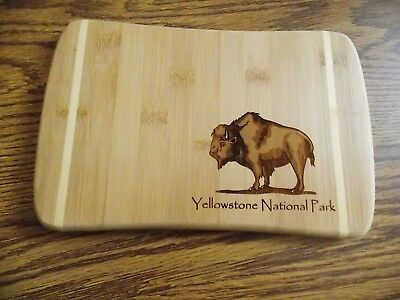 """Bamboo Carving Board souvenir from Yellowstone National Park 9 """" x 6 """""""