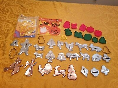 Lot 45 Tin Copper Plastic Cookie Cutters Pooh Bear Halloween Christmas Animals