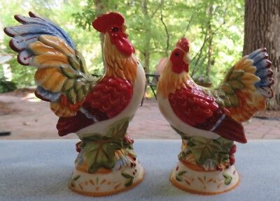 Fitz and Floyd Garden Medley Figural Rooster Chicken Salt & Pepper Shakers As Is