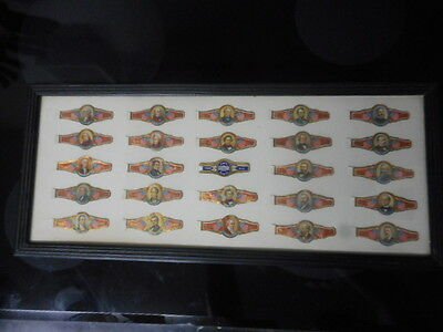 Nicely Framed Lot (25) Early 1900's U. S. Presidents On White House Cigar Bands