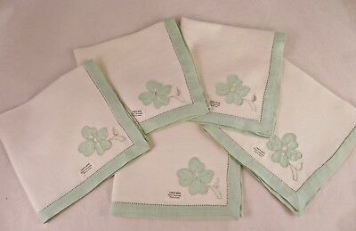 4 NOS w/tags  Linen Napkins Green Hemstitching Cutwork Corner Embroidery 15x15.5